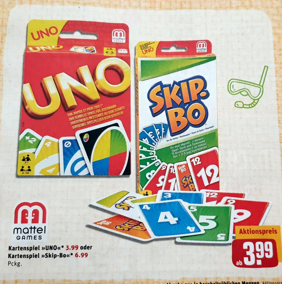 Mattel Uno für 3,99€ oder Skip-Bo für 6,99€ bei REWE CENTER ab 11.06.2019