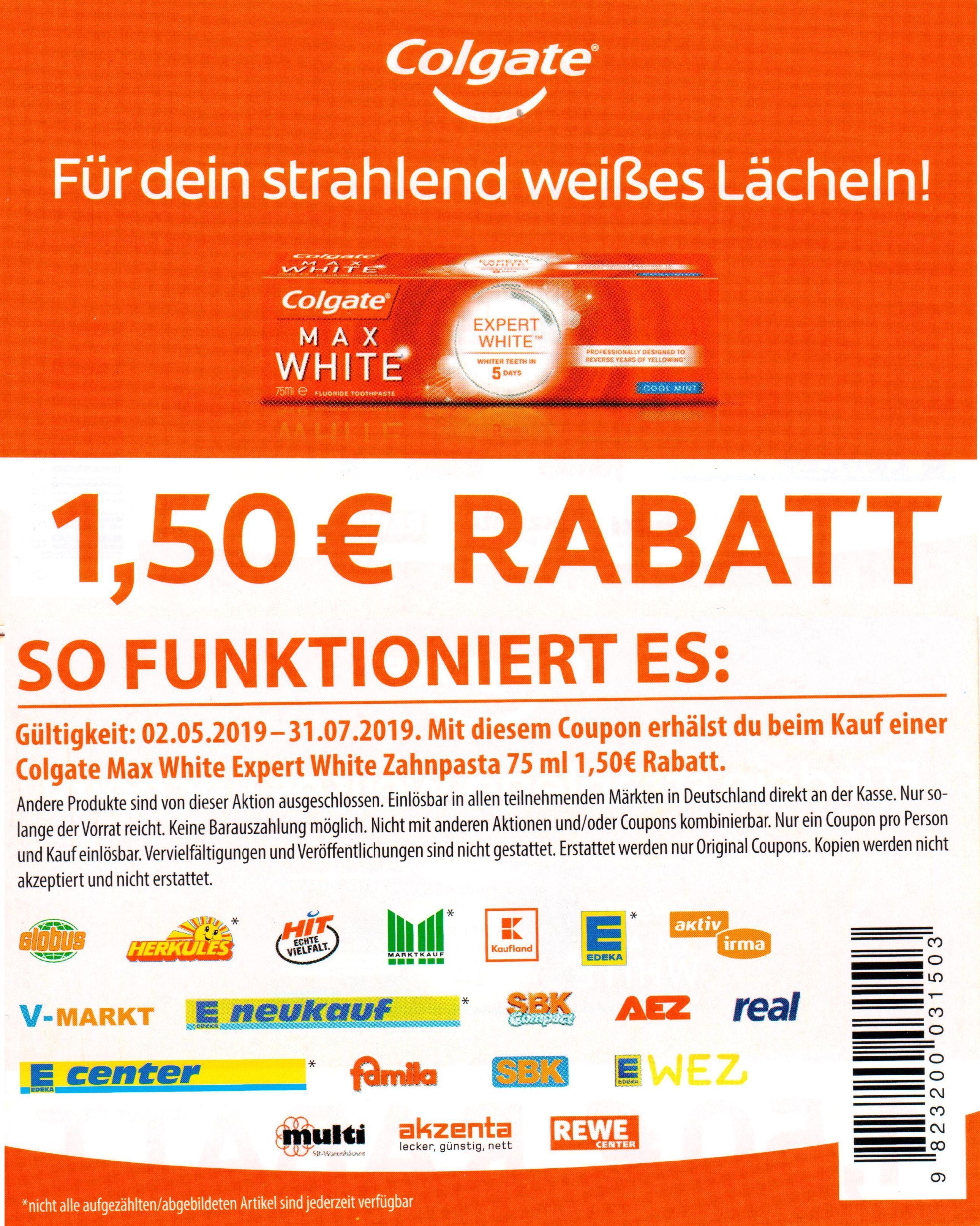 1,50€ Sofort-Rabatt Coupon für Colgate Max White Expert bis 31.07.2019