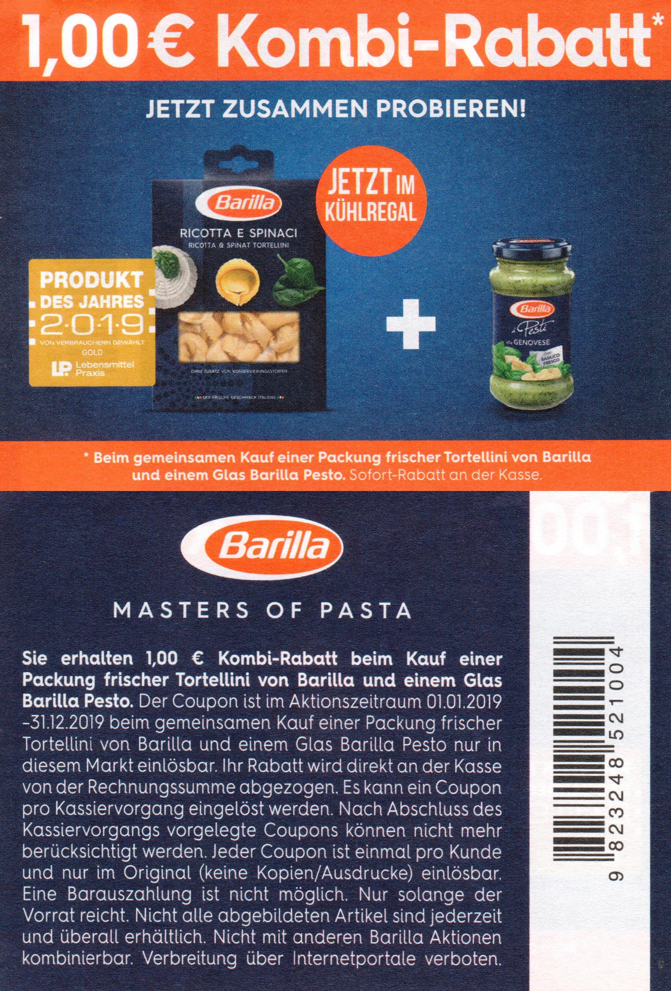 1,00€ Sofort-Rabatt Coupon für Barilla frische Tortellini und einem Glas Barilla Pesto bis 31.12.2019