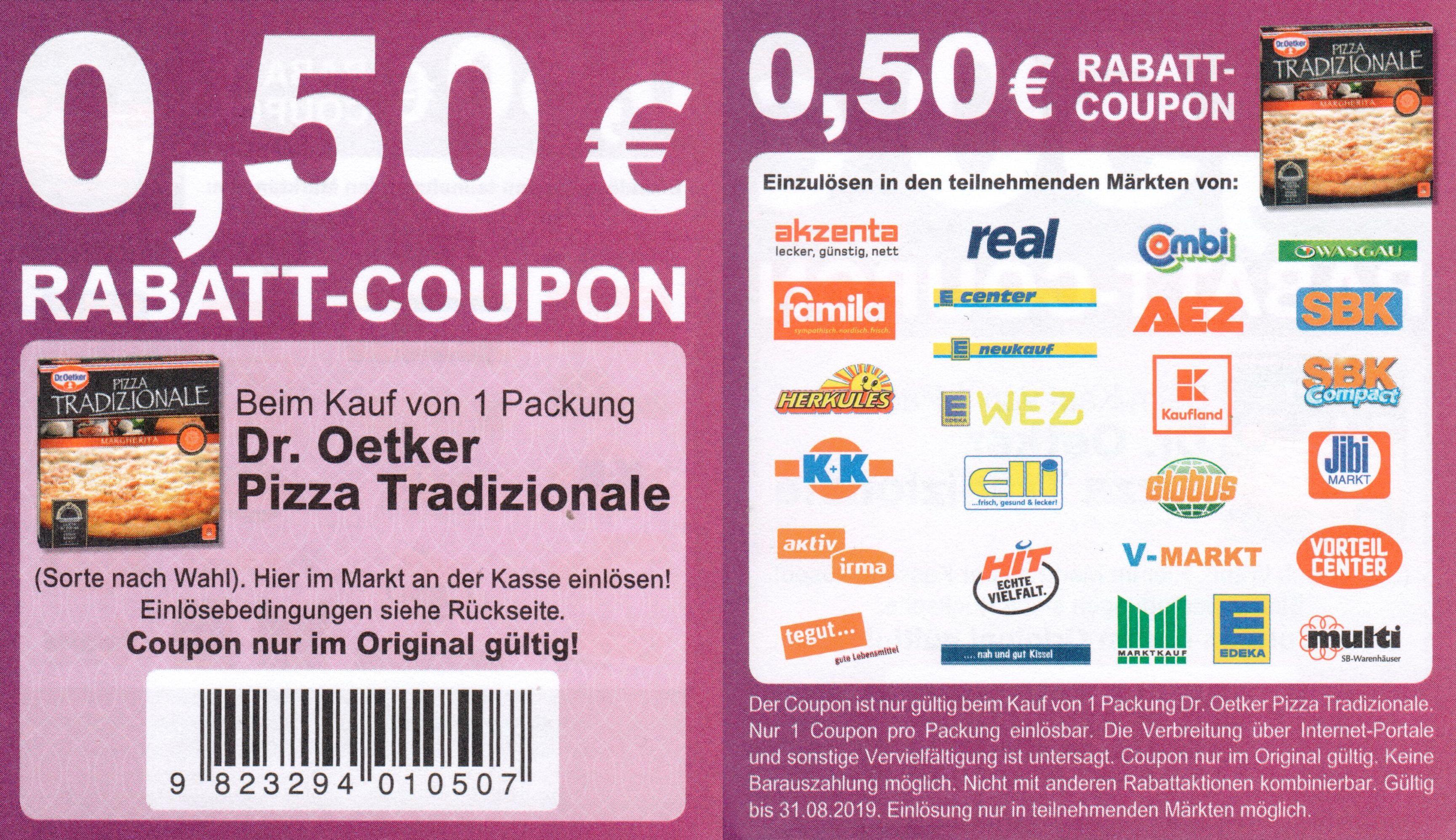 0,50€ Sofort-Rabatt Coupon für Dr. Oekter Pizza Tradizionale bis 31.08.2019