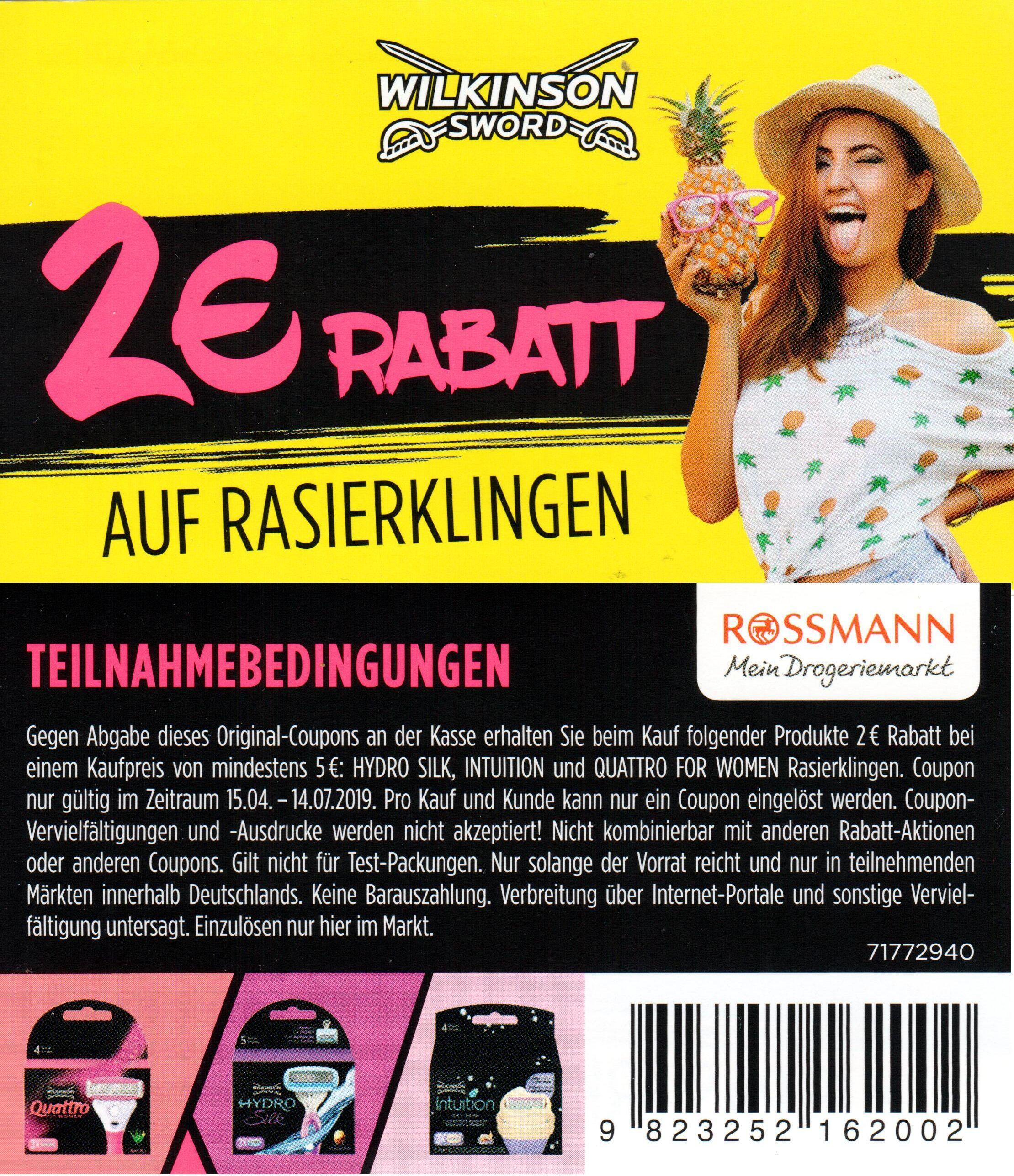 2,00€ Sofort-Rabatt Coupon für Wilkinson Rasierklingen iWv. 5,00€ bis 14.07.2019 bei Rossmann