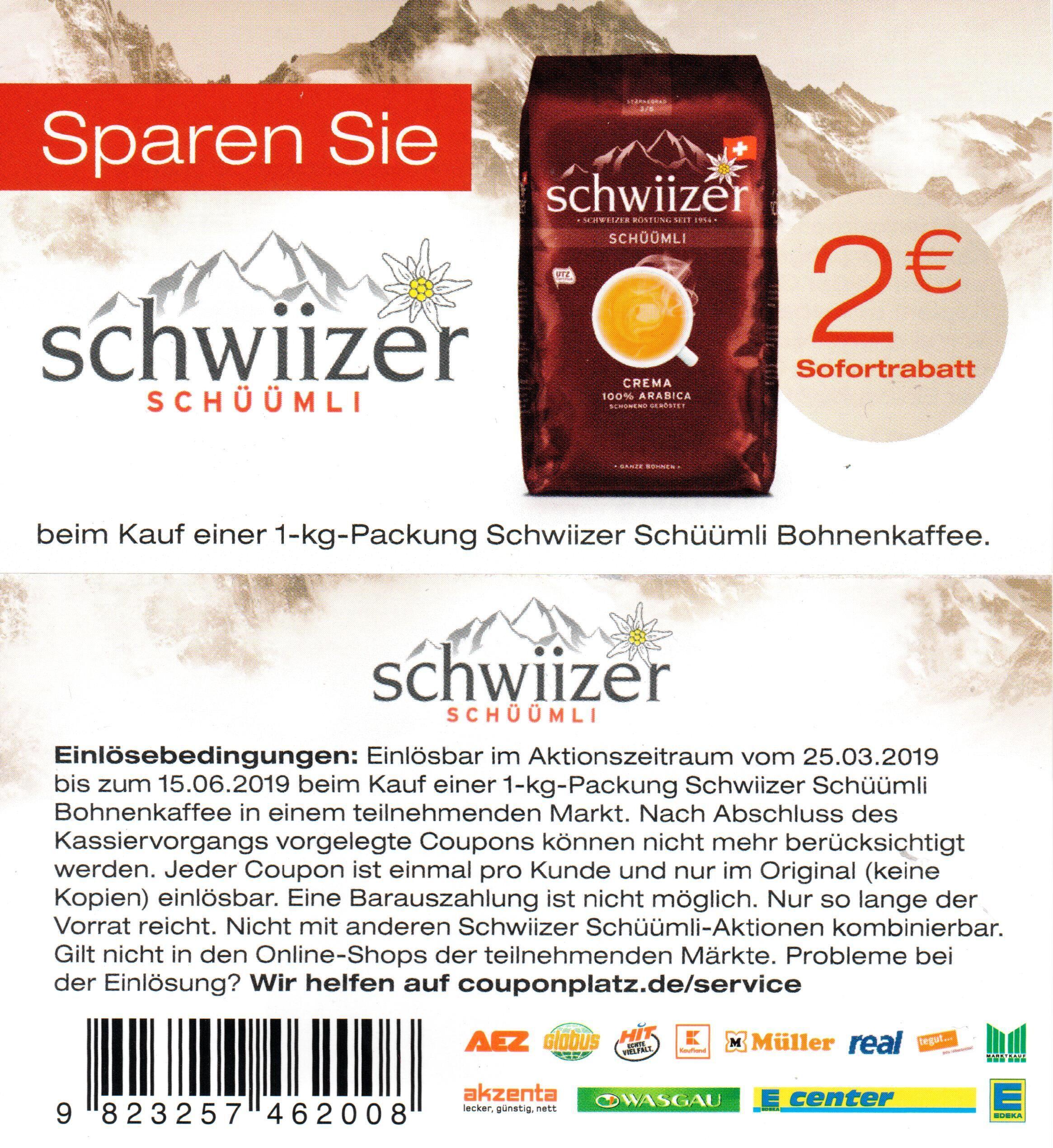 2,00€ Sofort-Rabatt Coupon für Schwiizer Schüümli 1000g bis 15.06.2019