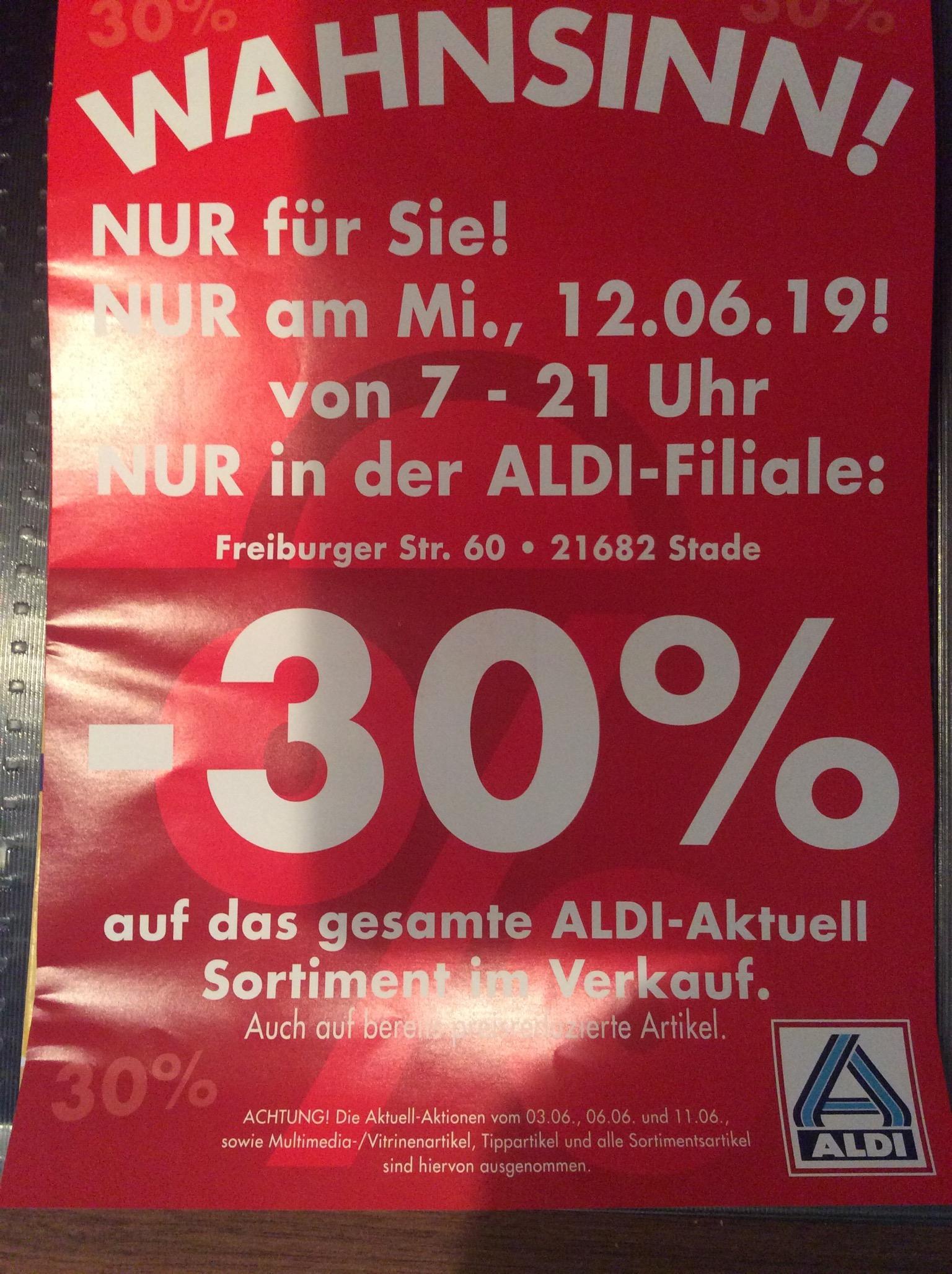 [Lokal Stade] ALDI 30% auf das gesamte ALDI Aktuell Sortiment - Nur am 12.06.19