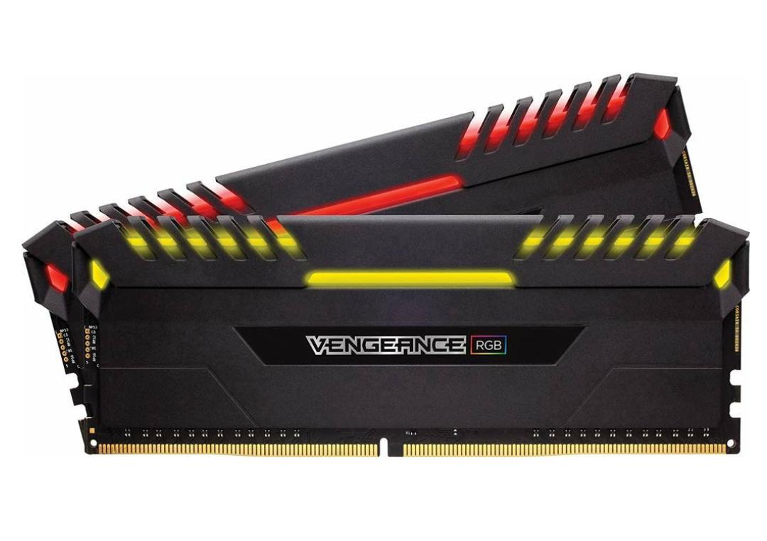 Corsair Vengeance RGB Schwarz 16GB Kit (2x8GB) DDR4-3000 CL15 DIMM Arbeitsspeicher mit LED-Beleuchtung