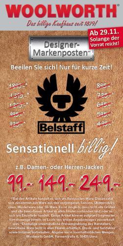 """[offline] Belstaff bei Woolworth zum """"Schleuderpreis"""" ab 29.11. / Jacken ab 99€ / Taschen ab 49€ / Hemden, Sweats, Strick ab 49€"""