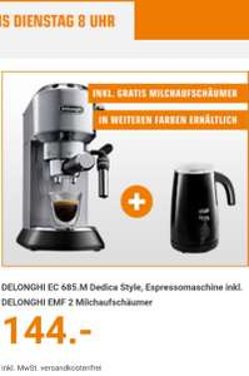 DELONGHI EC 685.BK + EMF 2 Alicia Latte Siebträger Espresso