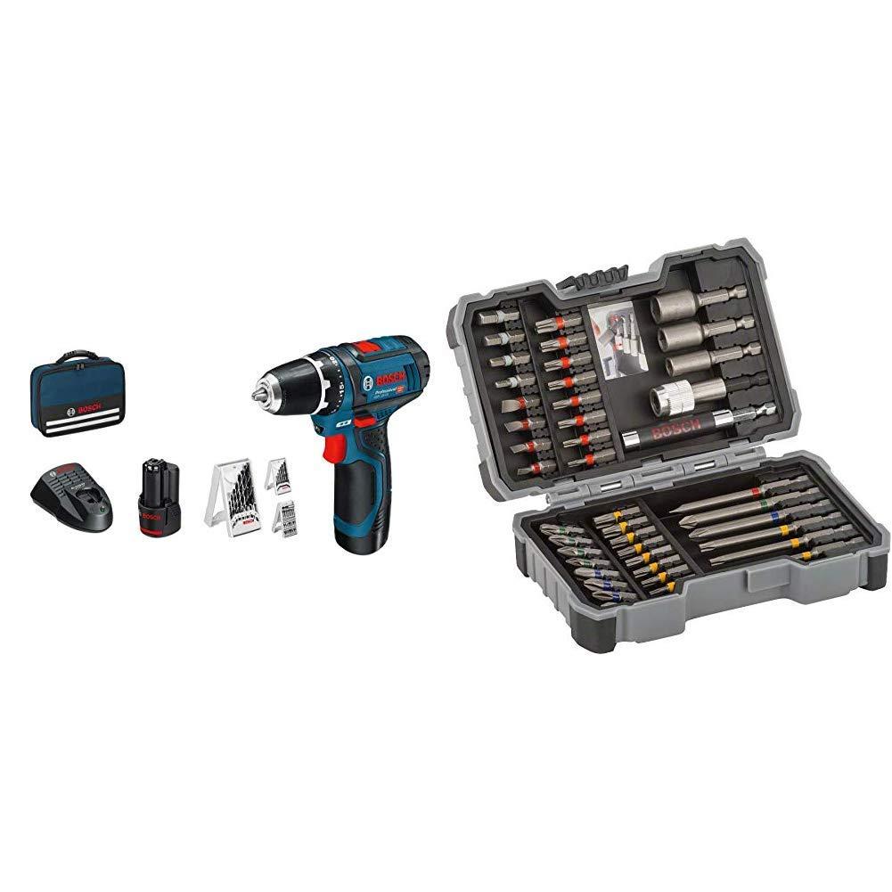 Bosch GSR12V-15 2x2 Ah + Tasche + 43-teiliges Set