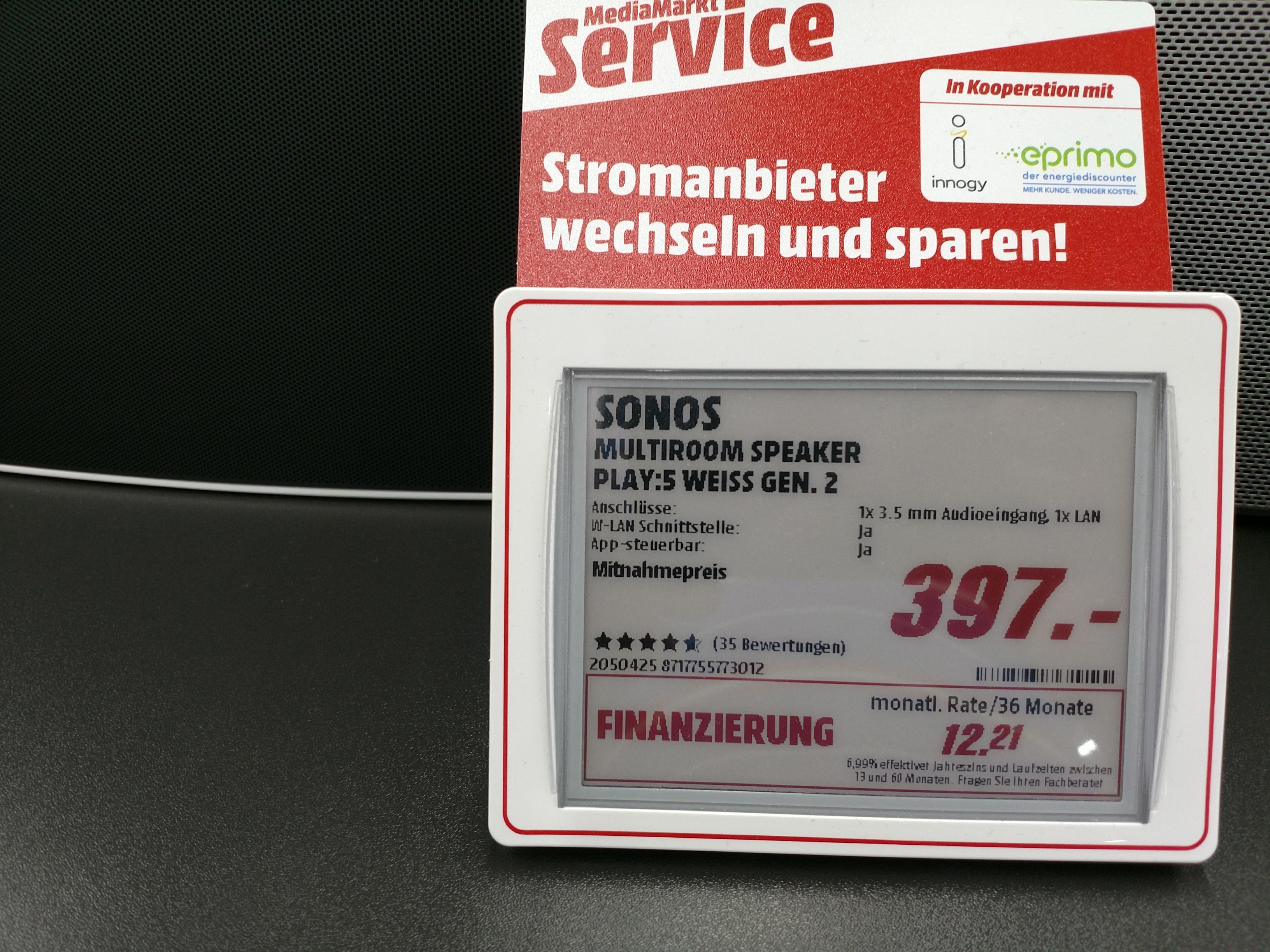 Lokal MM Böblingen Sonos Play 5 - 397 Euro, Sonos Play 3 - 222 Euro, Sonos Playbase - 557 Euro