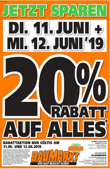 [Lokal] Globus Baumarkt Oldenburg - 20% auf alles!