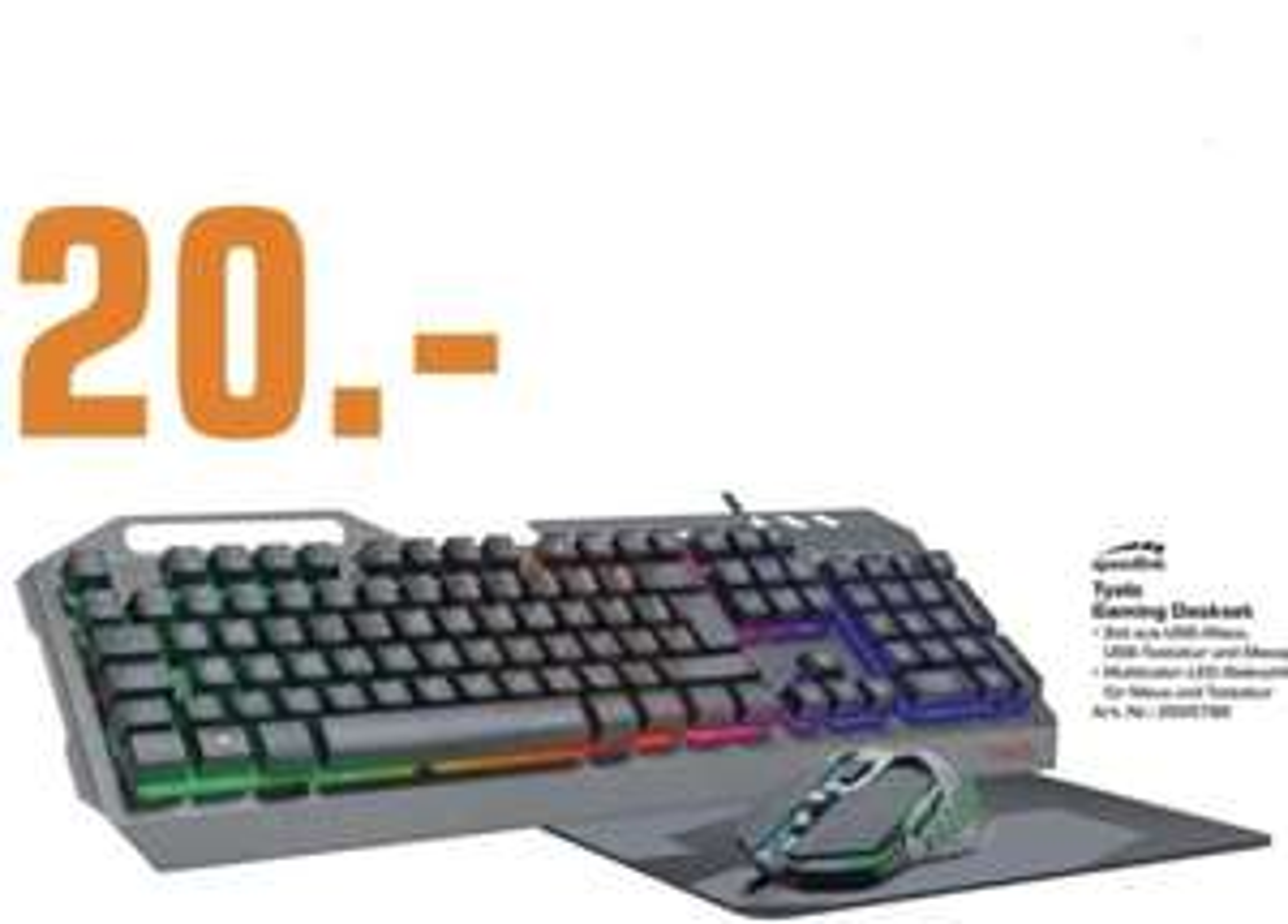 Lokal Saturn Berlin: Speedlink TYALO Gaming Set mit LED-Multicolor Beleuchtung USB-Tastatur + USB-Maus + Mauspad für 20€