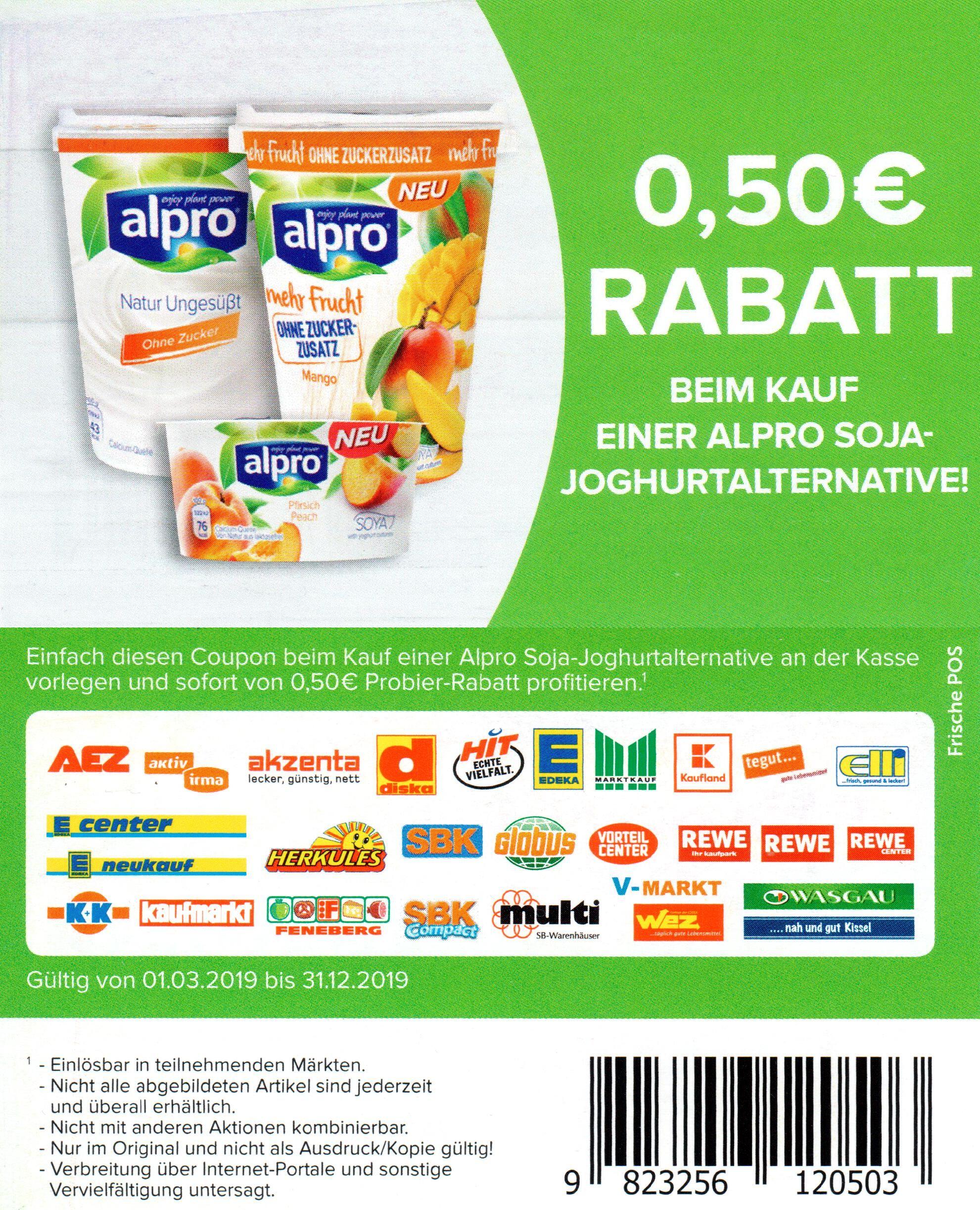 0,50€ Sofort-Rabatt Coupons für Alpro Soja-Joghurtalternative oder Skyr Style bis 31.12.2019