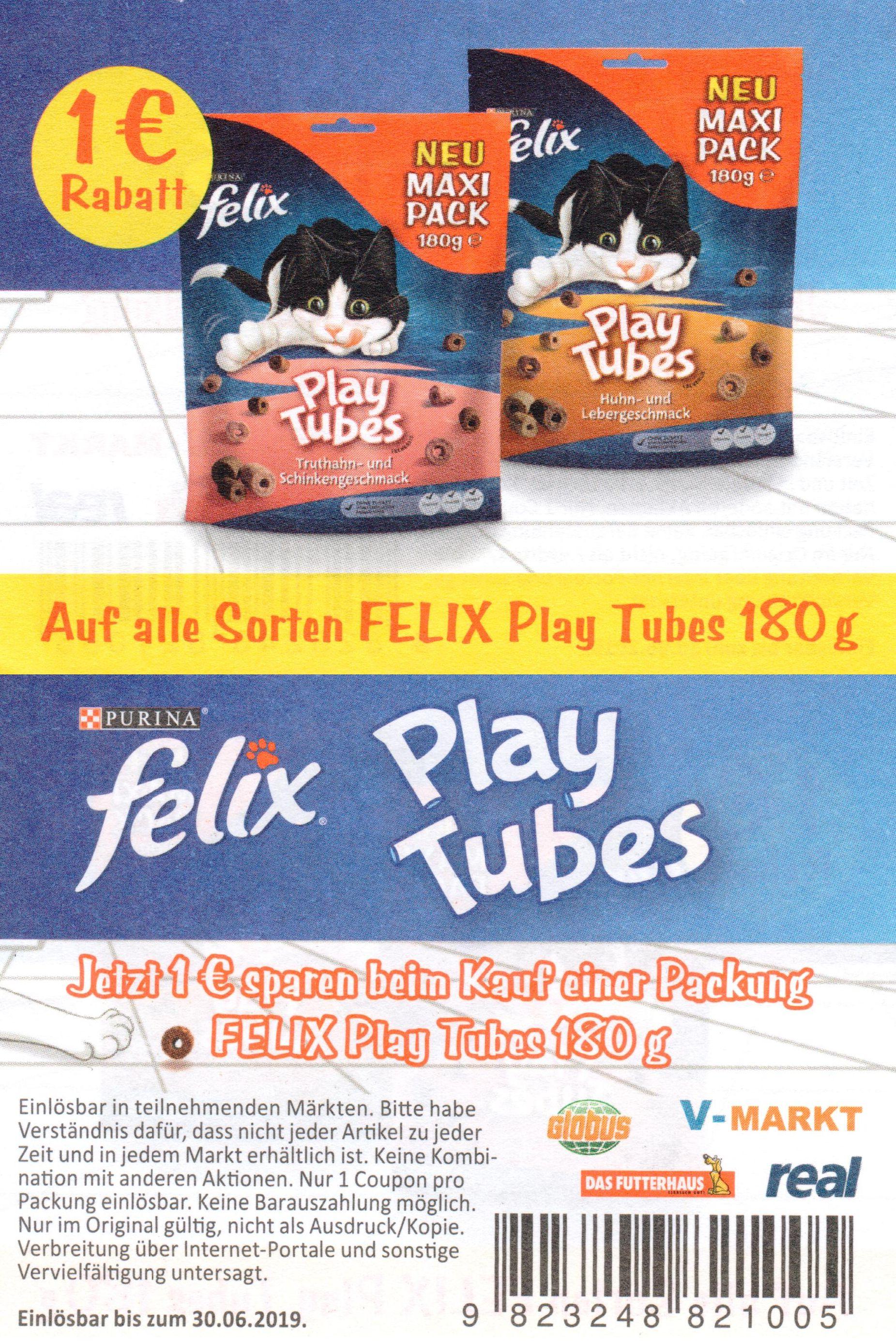 1,00€ Sofort-Rabatt Coupon für Purina Felix Play Tubes bis 30.06.2019