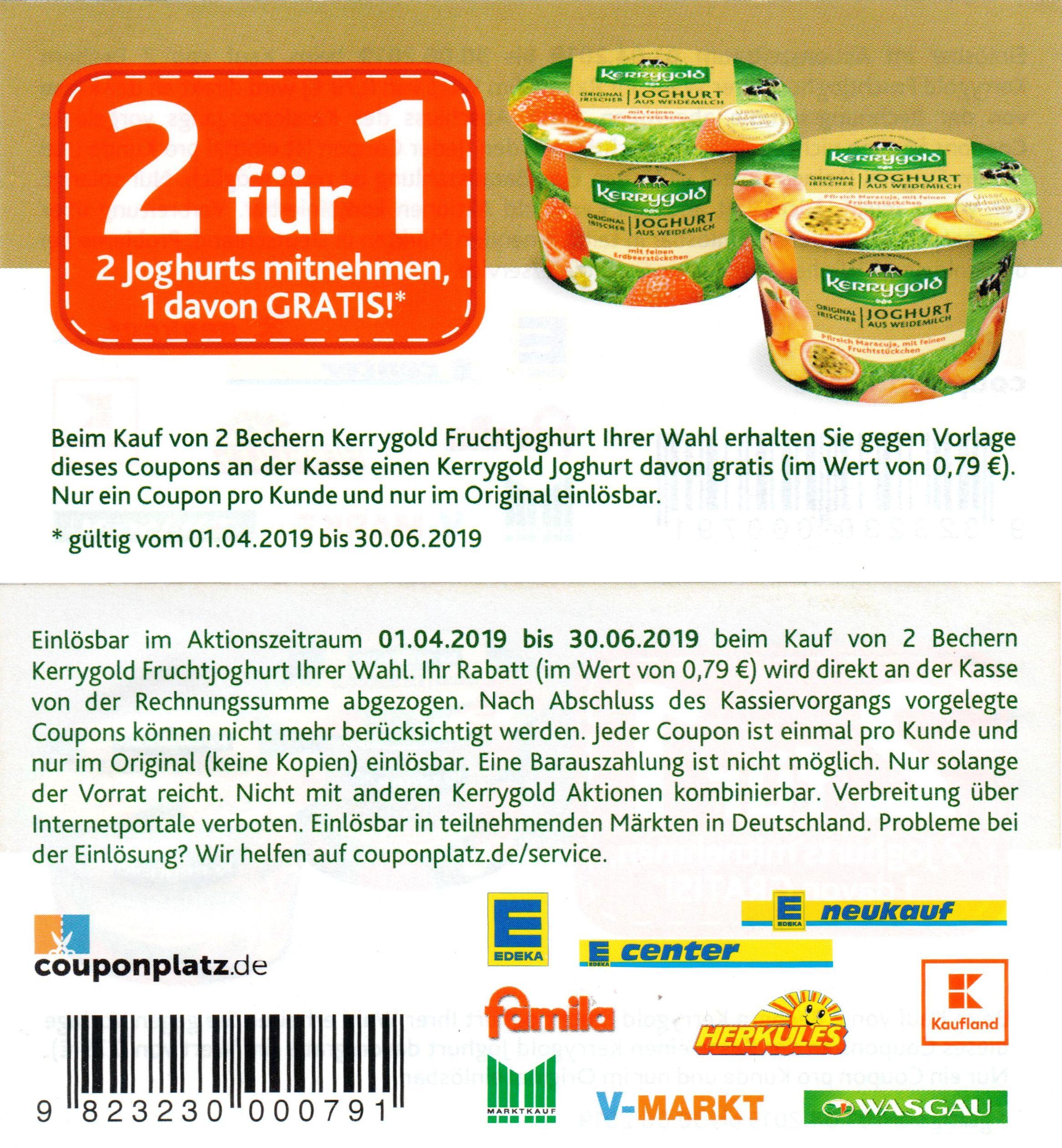 2für1 Sofort-Rabatt Coupon für Kerrygold Fruchtjoghurt bis 30.06.2019