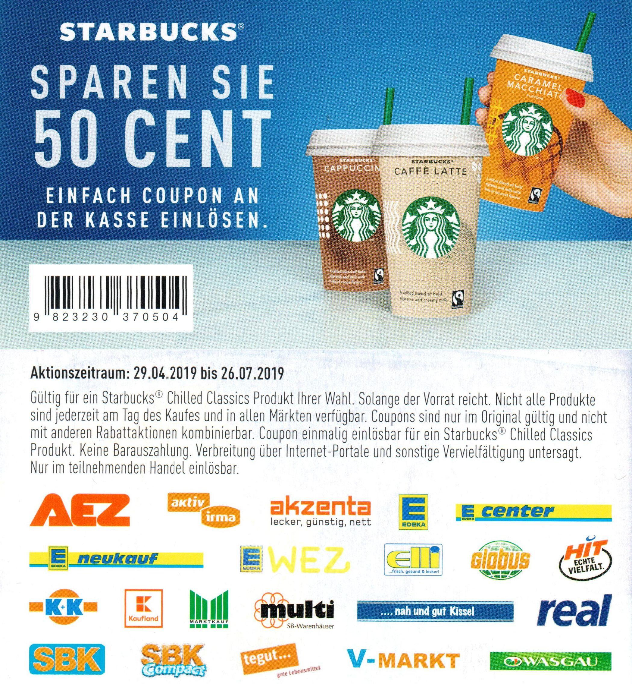 0,50€ Sofort-Rabatt Coupon für Starbucks Chilled Classics bis 26.07.2019