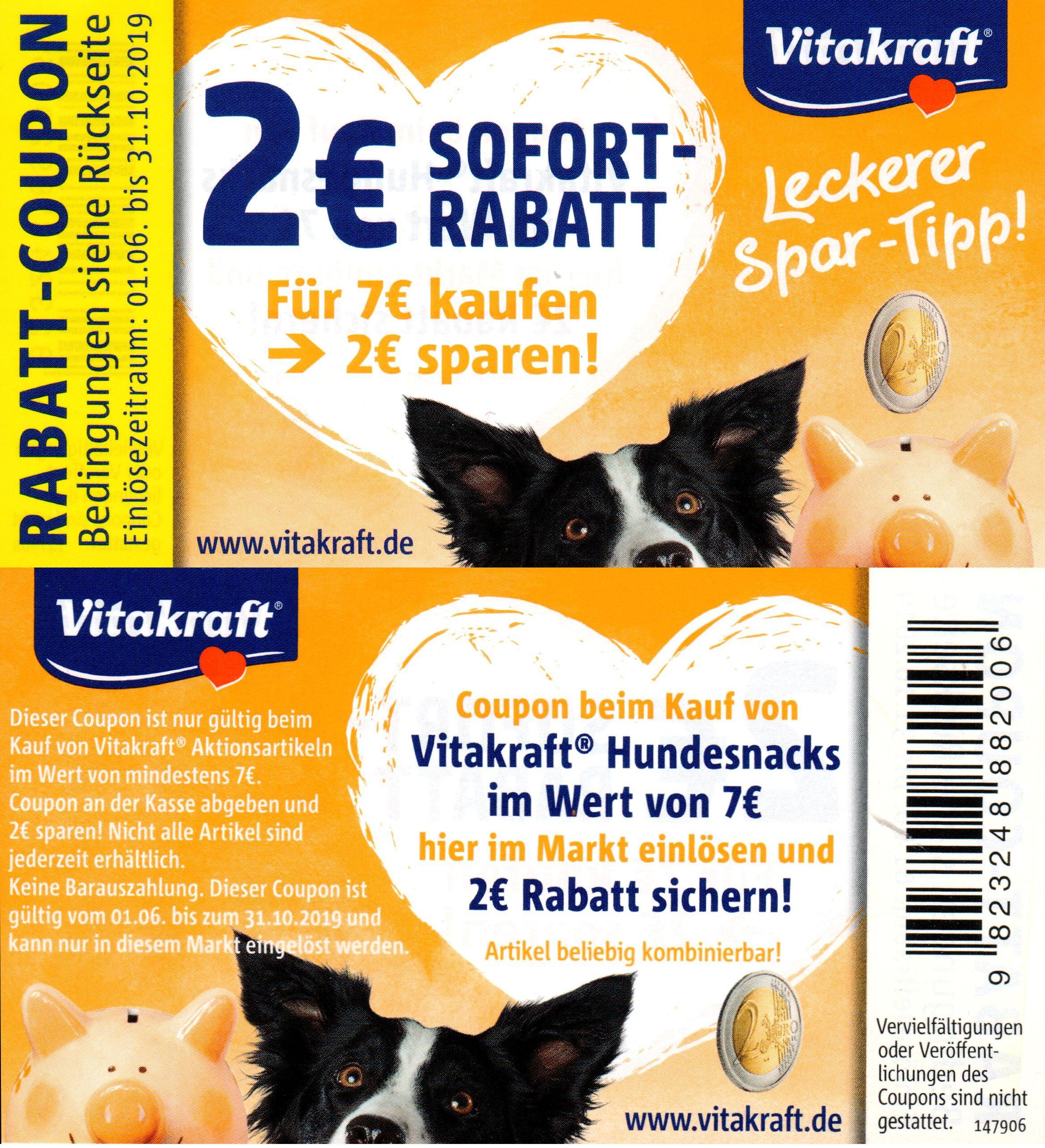 2,00€ Sofort-Rabatt Coupons für Vitakraft Hunde & Katzen Snacks iWv 7,00€ bis 31.10.2019
