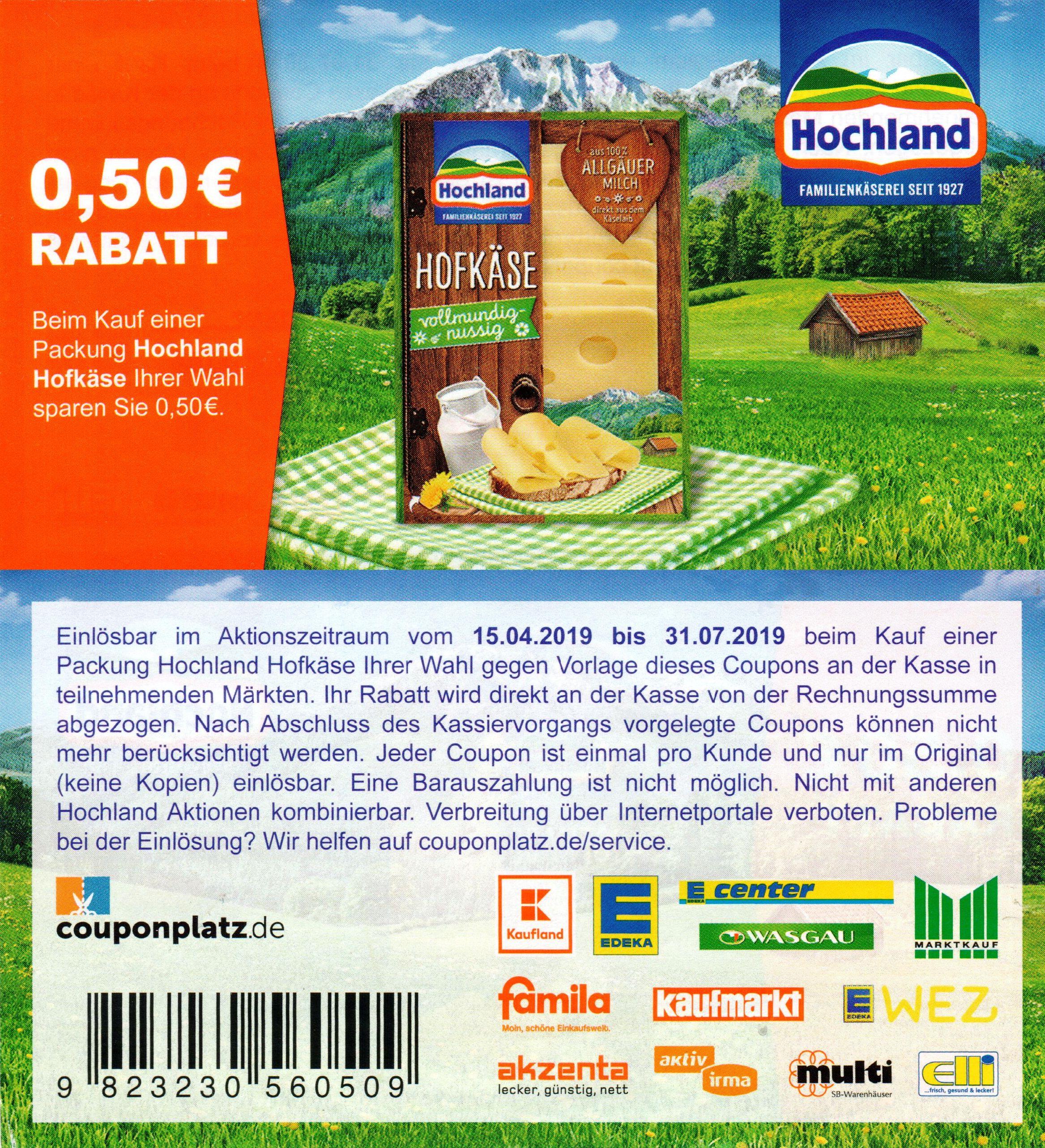 0,50€ Sofort-Rabatt Coupon für 1x Hochland Hofkäse bis 31.07.2019