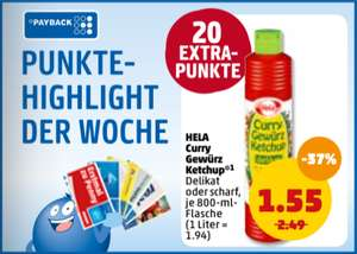 Hela Gewürzketchup versch. Sorten 800ml für 1,55€ + 20 Payback Punkte (0,20€) eff. für 1,35€ bei Penny