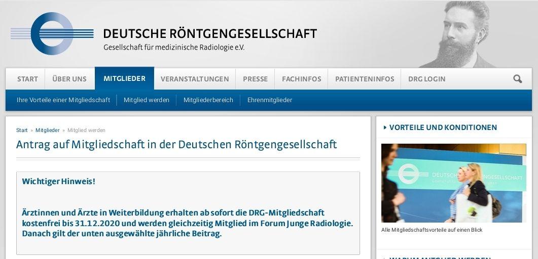 Mitgliedschaft in der Deutschen Röntgengesellschaft für Ärzte in Weiterbildung bis 31.12.2020 kostenlos