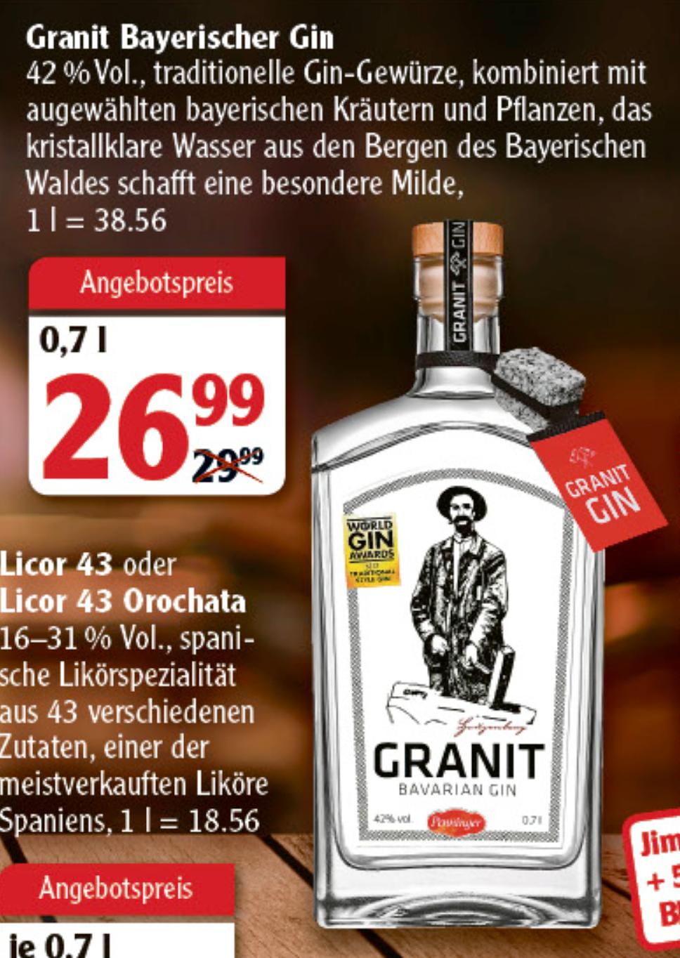 [GLOBUS] Granit Bavarian Gin (1 x 0,7l) (Lokal - Hockenheim-Talhaus)