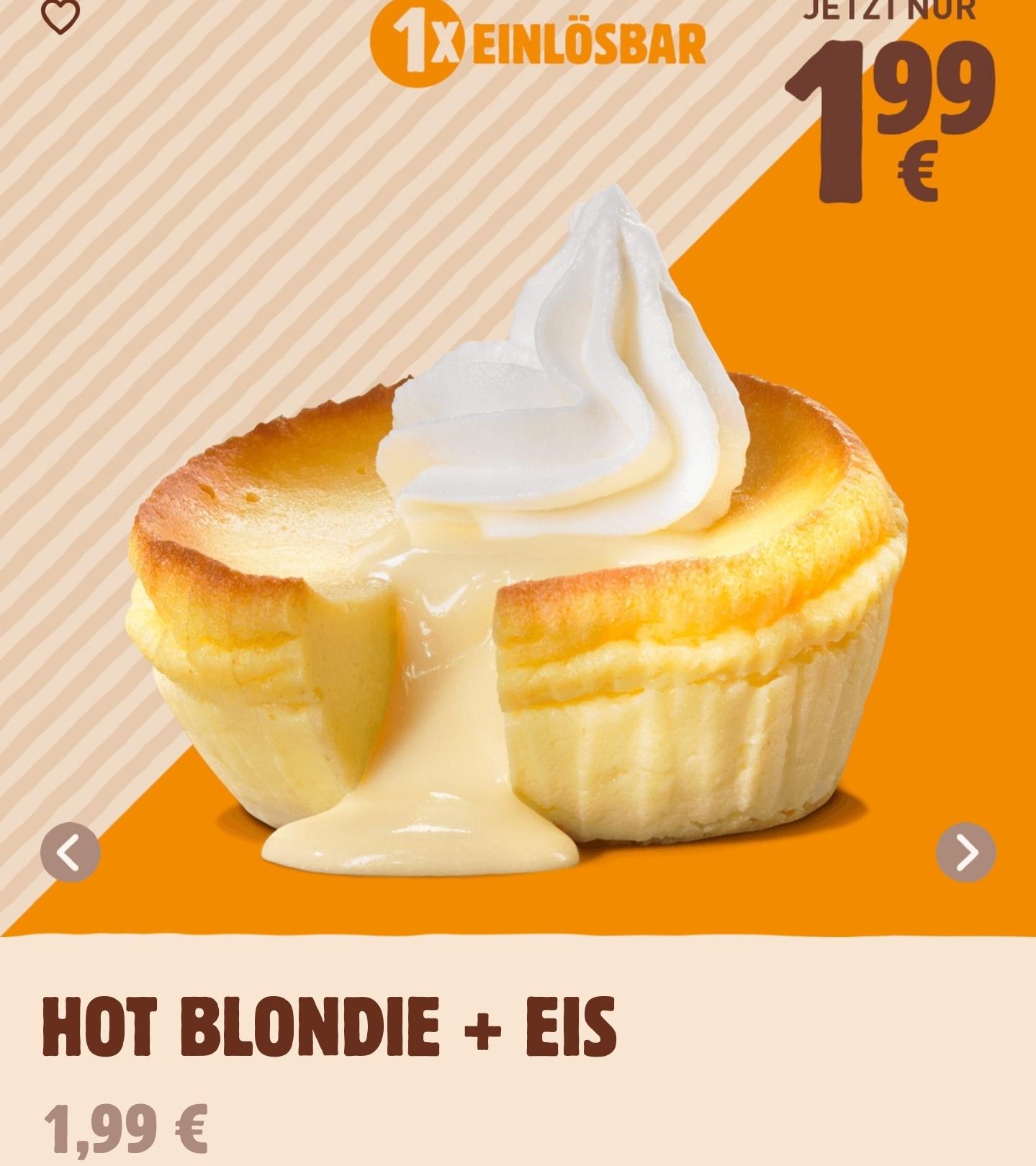 Hot Blondie + Eis für 1,99€ [My BK Burger King App]