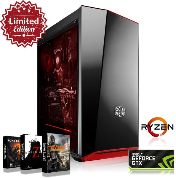 Gaming PC: Ryzen 5 2600X, B450, 16GB DDR4 3000, GTX 1070, 240 GB SSD, 550W, World War Z, The Division 2, Tomb Raider,  (konfigurierbar)