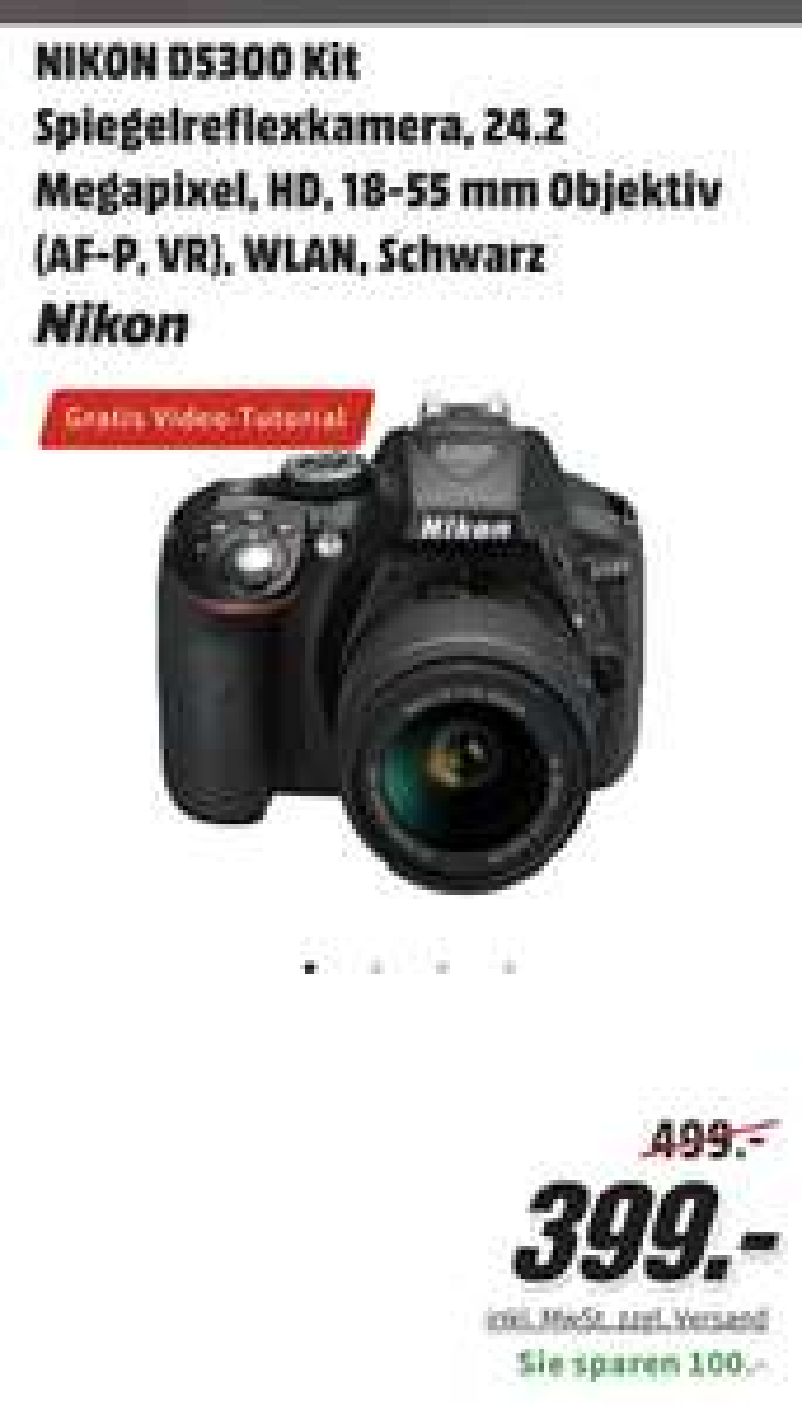NIKON D5300 Kit Spiegelreflexkamera, 18-55 mm Objektiv