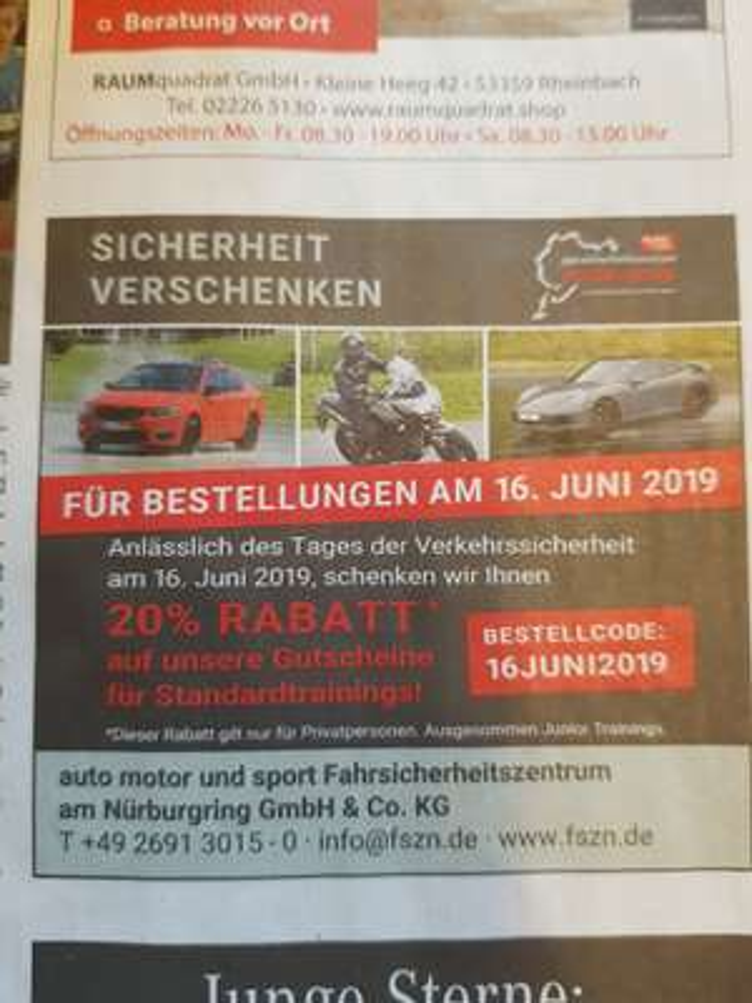 20% Rabatt Fahrsicherheitszentrum Nürburgring