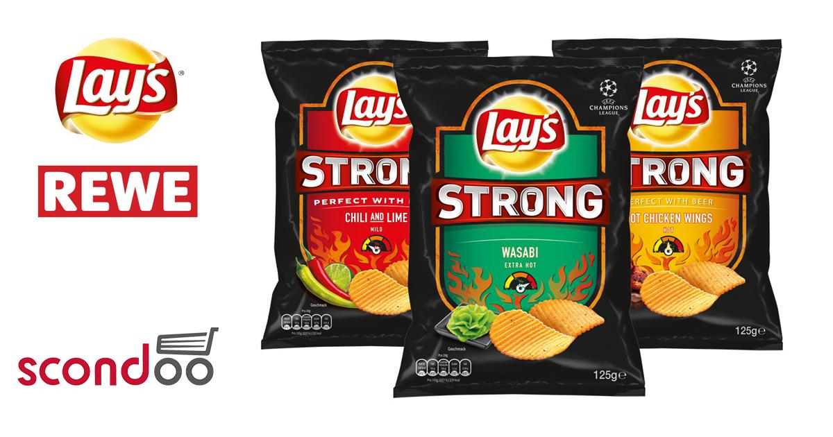 bis zu 120x0.50€ Cashback auf Lay´s Strong Chips bei Rewe [Scondoo]