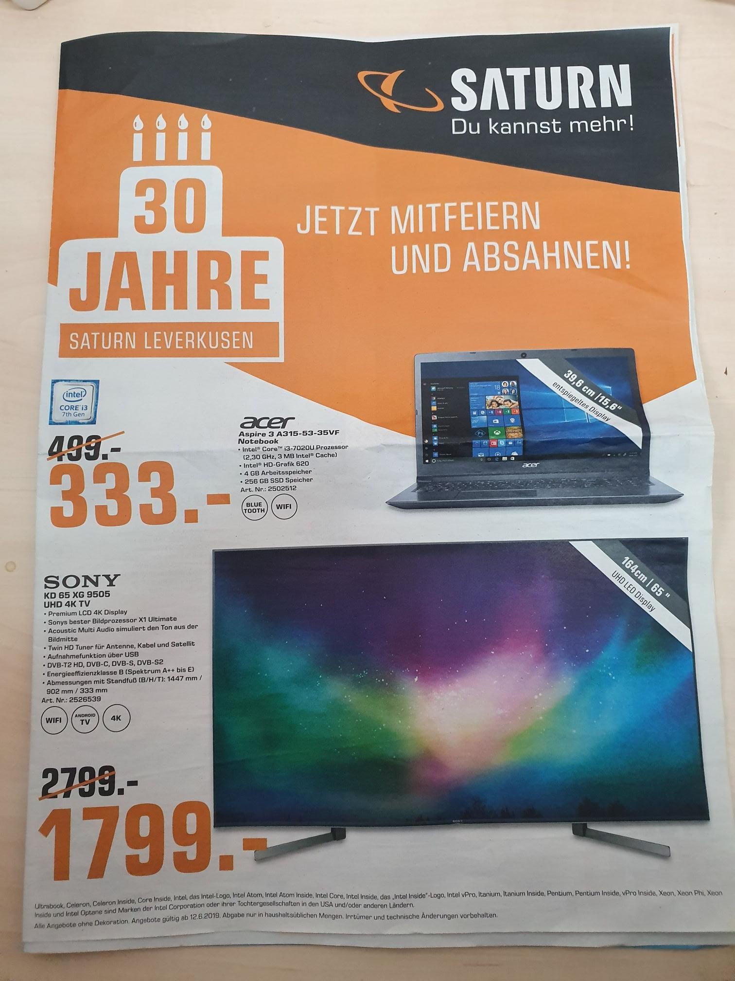 (Lokal) Saturn Leverkusen Geburtstagsangebote Sony KD 65 XG 9505, LG OLED 65 B8, Bose Soundlink mini II und weiteres