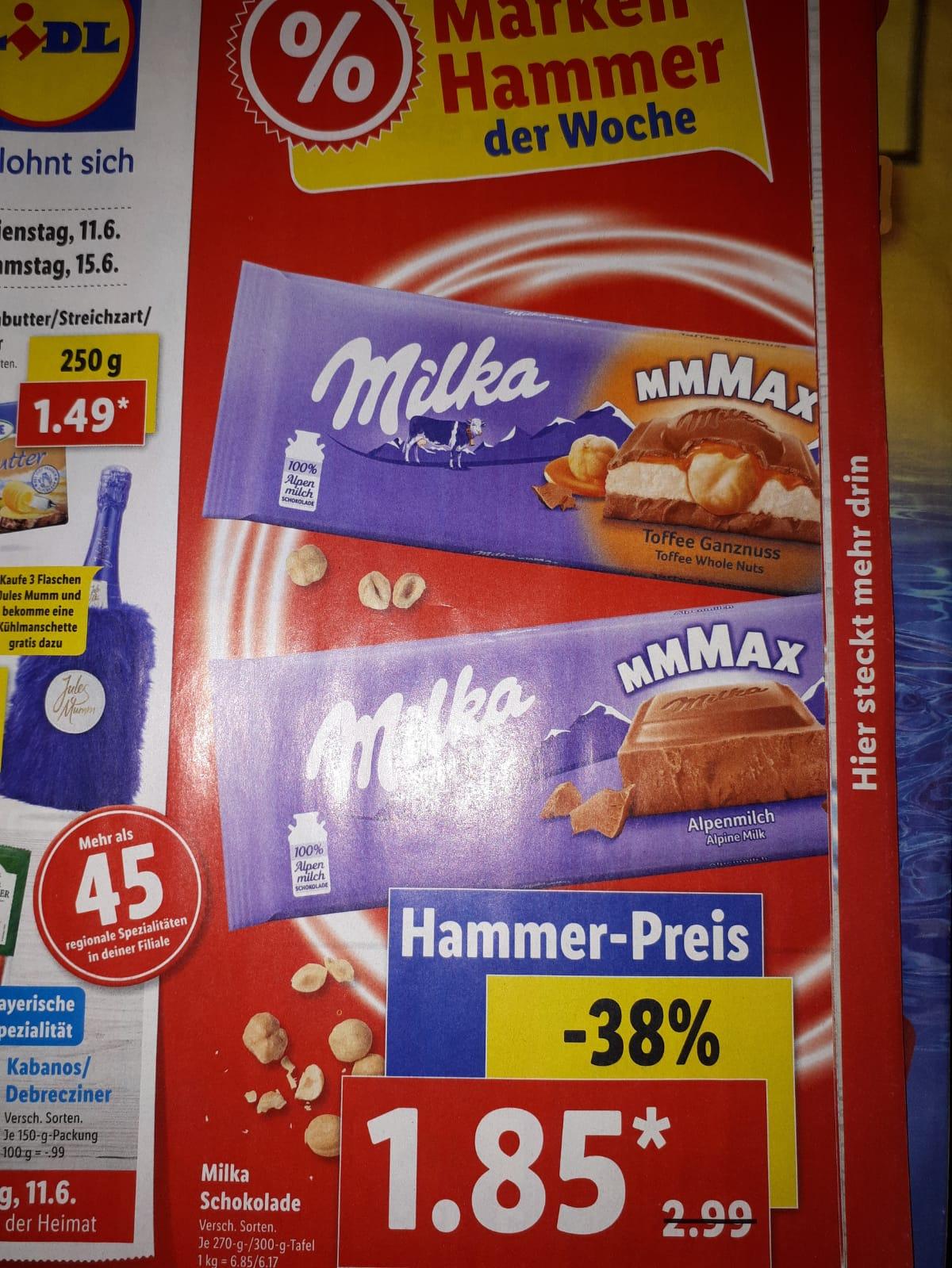 Milka Mmmax 270/300 Gramm Tafel für 1,85 Euro ab 11.06. im Lidl