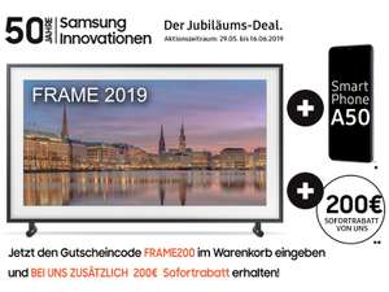 Samsung The Frame 2019 65 Zoll + Samsung A50 + 200 Euro Sofortrabatt