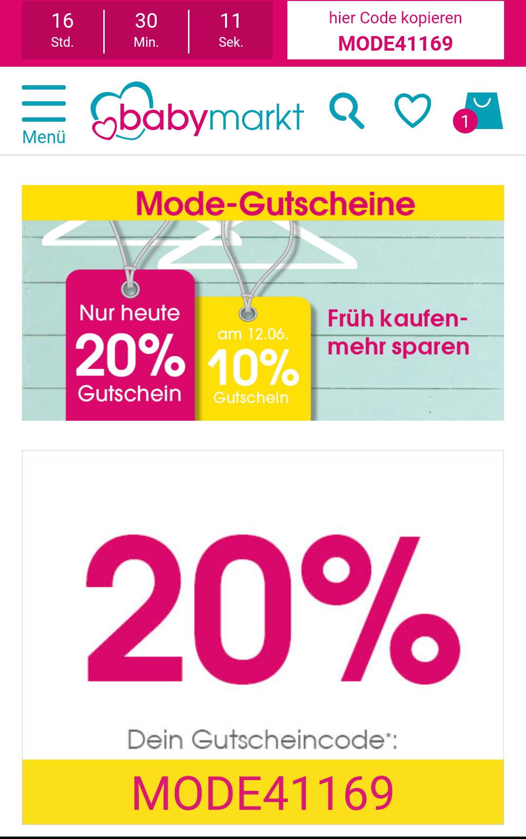 [babymarkt.de] Heute 20% auf Mode