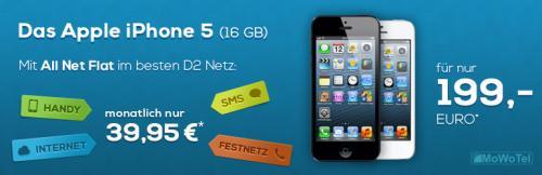 iPhone 5 16GB mit D2 All Net Flat nur 39,95€ monatlich