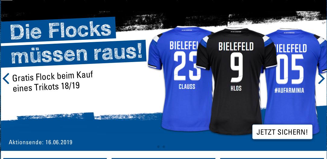 Gratis Rückenflock beim Kauf eines Arminia Bielefeld Trikot aus der Saison 2018/2019