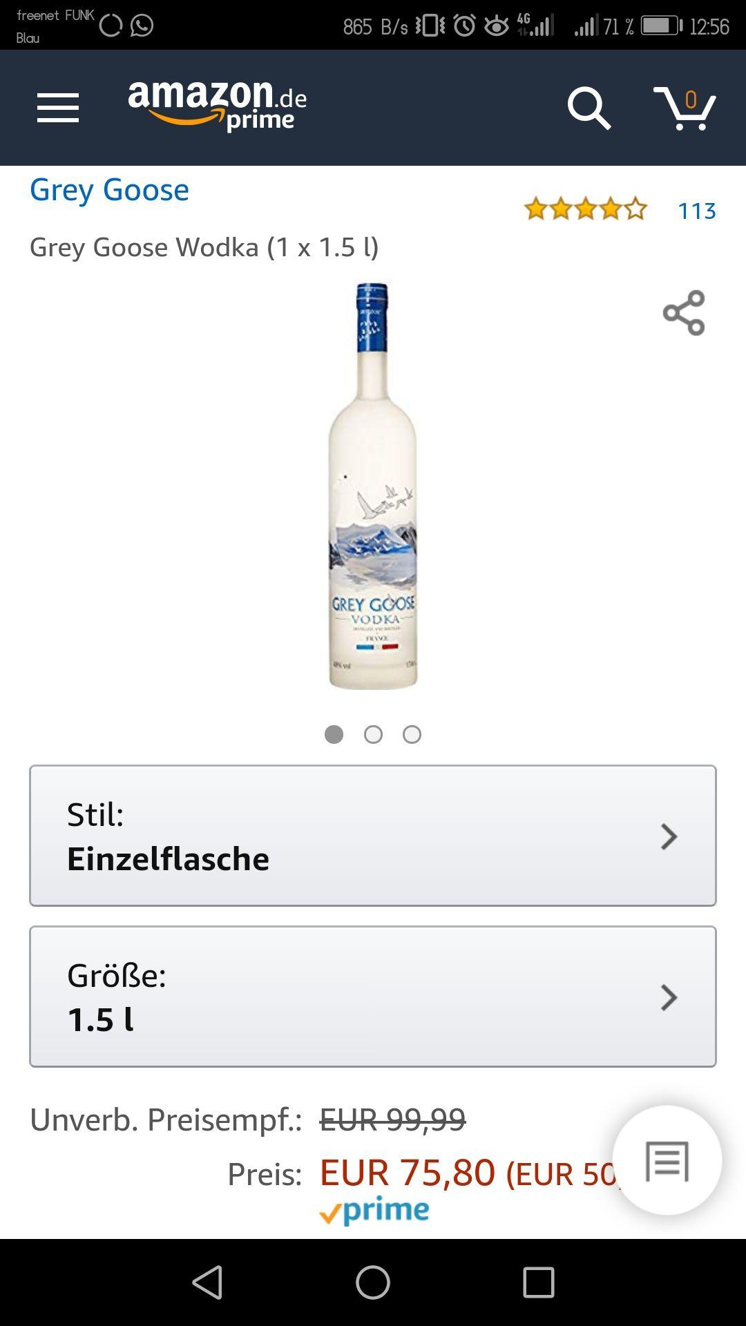Grey Goose 0.7L für ~30€