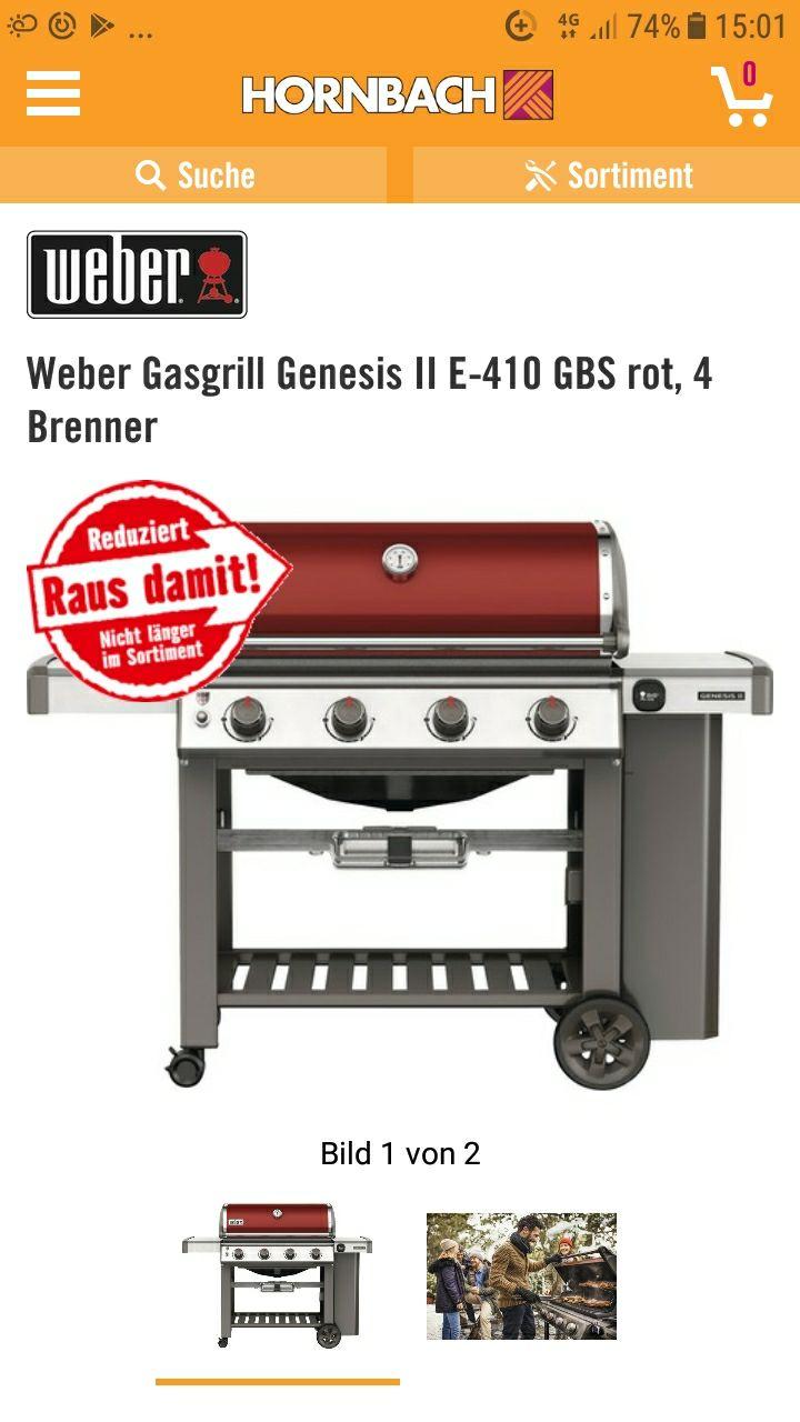 Weber Gasgrill Genesis II E-410 GBS rot, 4 Brenner Hornbach Wolfsburg