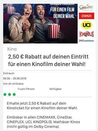 ( Coupies ) 2,50€ Rabatt auf einen Film deiner Wahl Cinemaxx/Cinestar/Cineplex/UCI etc