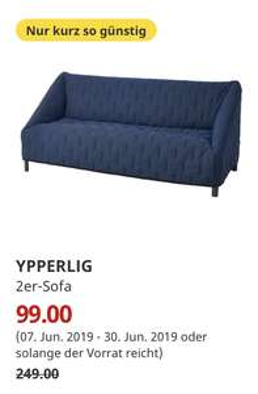 (IKEA Kaarst) YPPERLIG 2er-Sofa, Orrsta schwarzblau