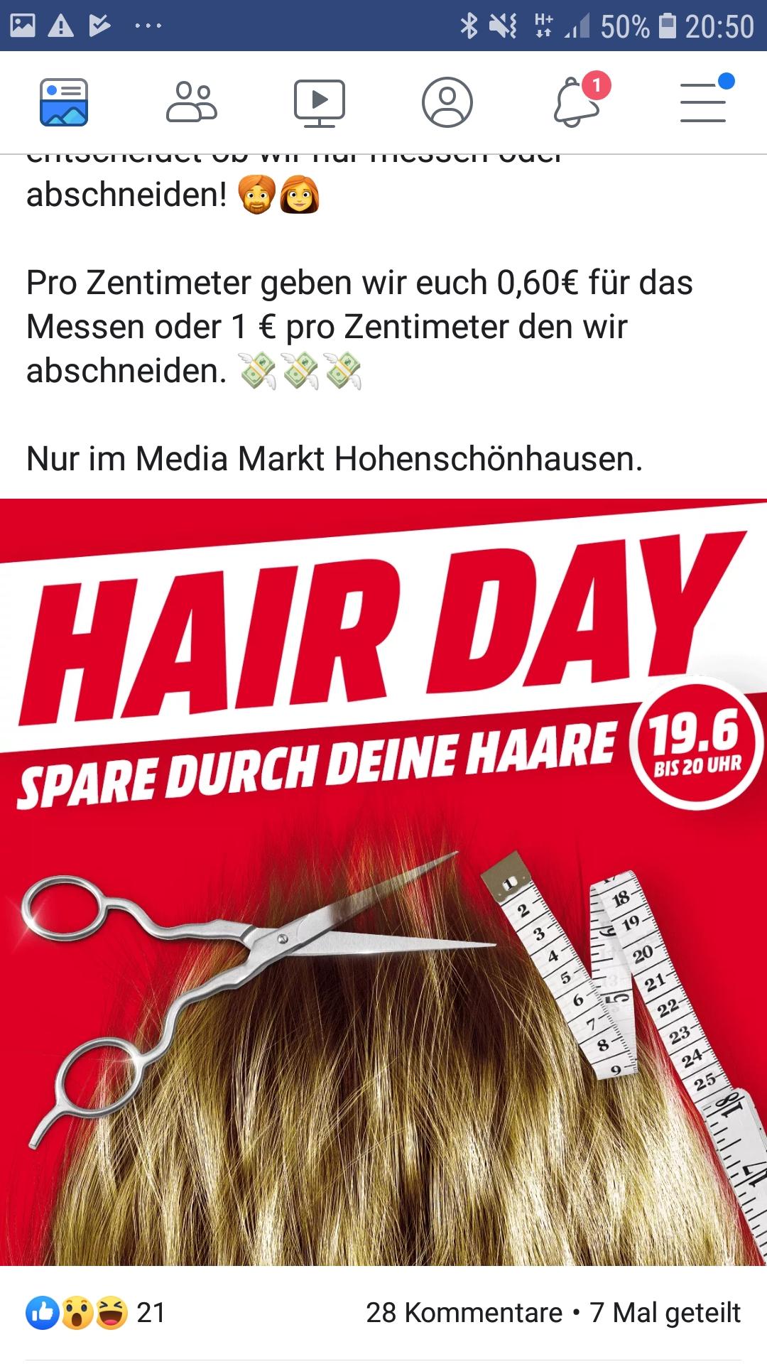 (Berlin HSH) MediaMarkt Linden Center Gutschein für eure Haarlänge