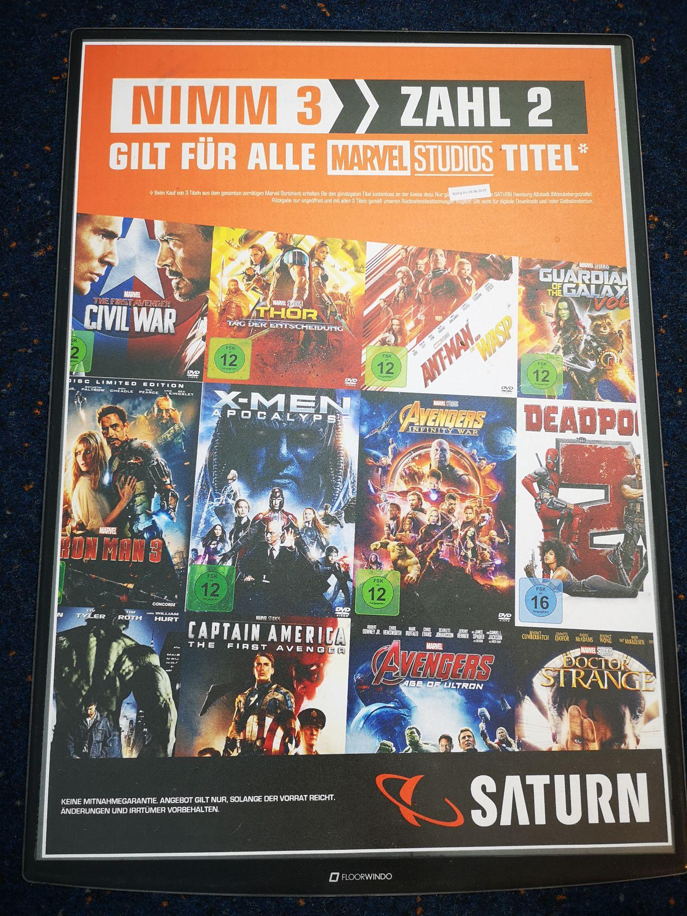 3 für 2 auf Marvel Filme im Saturn Hamburg Altstadt