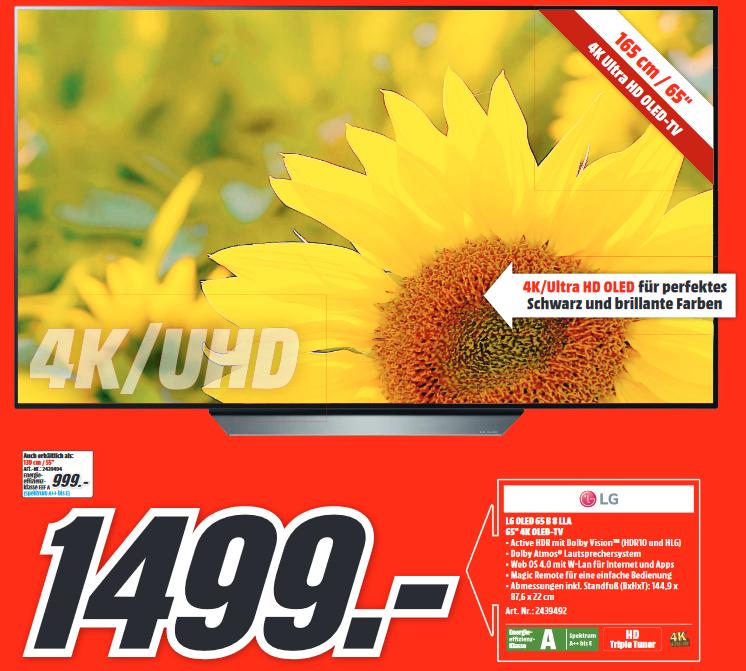 "[Lokal: Media Markt Düsseldorf] LG OLED65B8LLA - 65"" OLED UHD Smart TV (120 Hz, 10bit) | OLED55B8LLA für 999€ | Samsung Galaxy A50 @222€"
