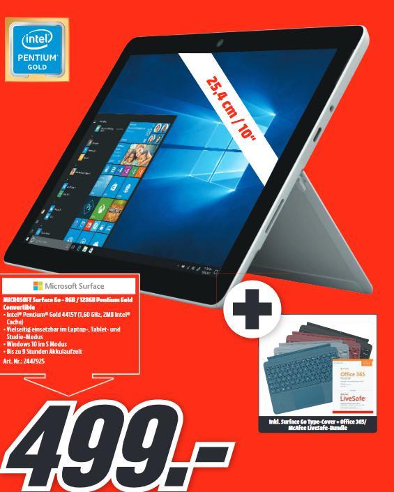 [Lokal: Media Markt Düsseldorf] Microsoft Surface Go + Type Cover + Office 365 @499€