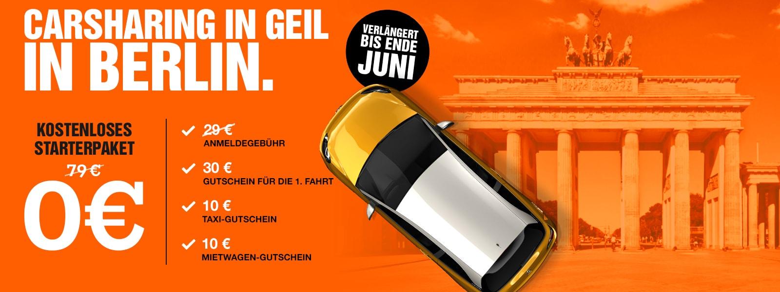 Kostenloses Starterpaket für SIXT SHARE HH, B, M (Keine Anmeldegebühr, 30€ Gutschein, 10€ Taxi- & Mietwagengutschein)