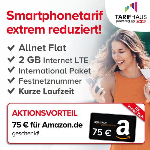 2GB LTE-Tarif für mtl. 9,99€ + 75€ Amazon Gutschein + 1 Jahr CHIP ePaper (6 Monate MVLZ, o2-Netz, 100 Freiminuten ins EU-Ausland)