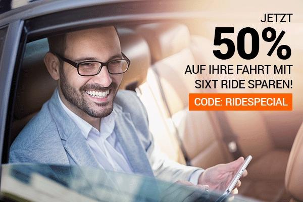 50% Rabatt auf deine Fahrt mit SIXT Ride (Bestandskunden)