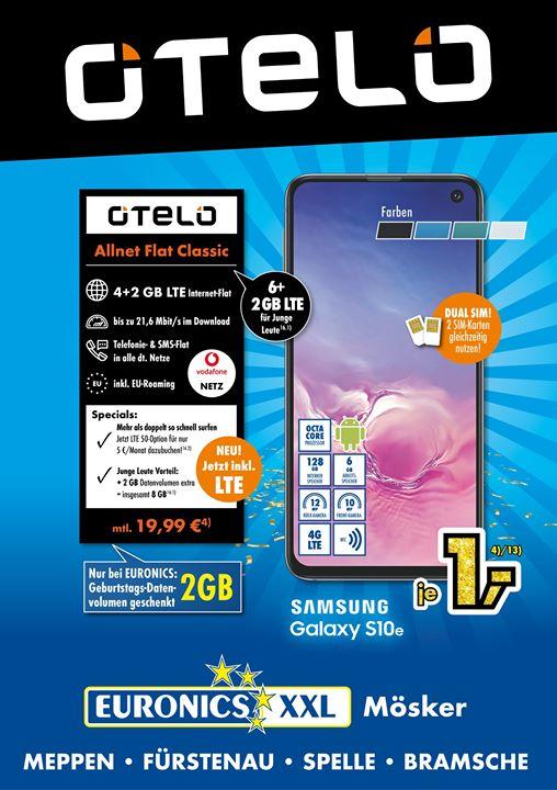 [Lokal Emsland] Samsung Galaxy S10e für 1€ ZZ im Otelo Allnet Classic (6GB LTE 21,6 Mbit/s) für mtl. 19,99€