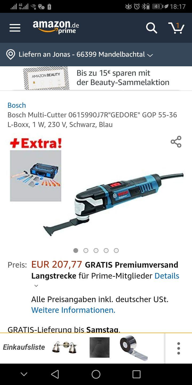 """Bosch Multi-Cutter 0615990J7R""""GEDORE"""" GOP 55-36 L-Boxx, 1 W, 230 V, Schwarz, Blau"""