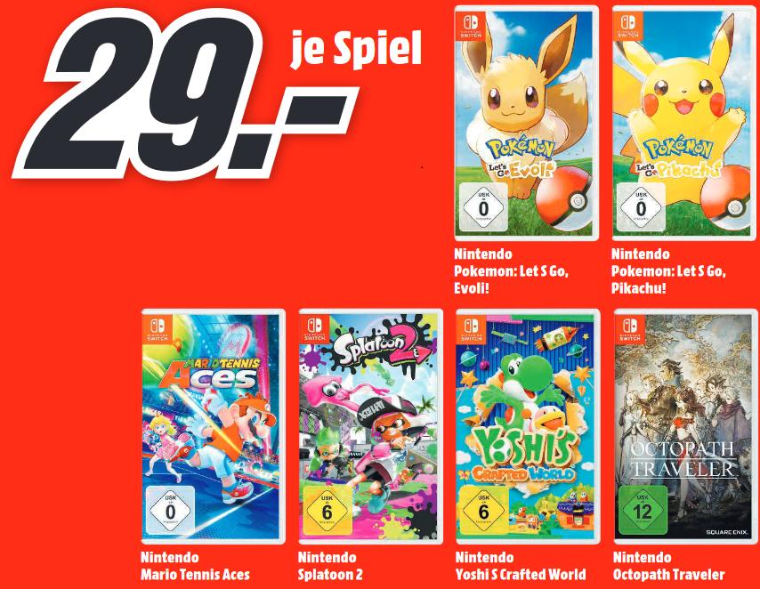[Lokal: MM Bremerhaven / Wilhelmshaven / Spaden] Octopath Traveler, Lets Go Pikachu / Evoli, Mario Tennis Aces, Splatoon 2 je 29€