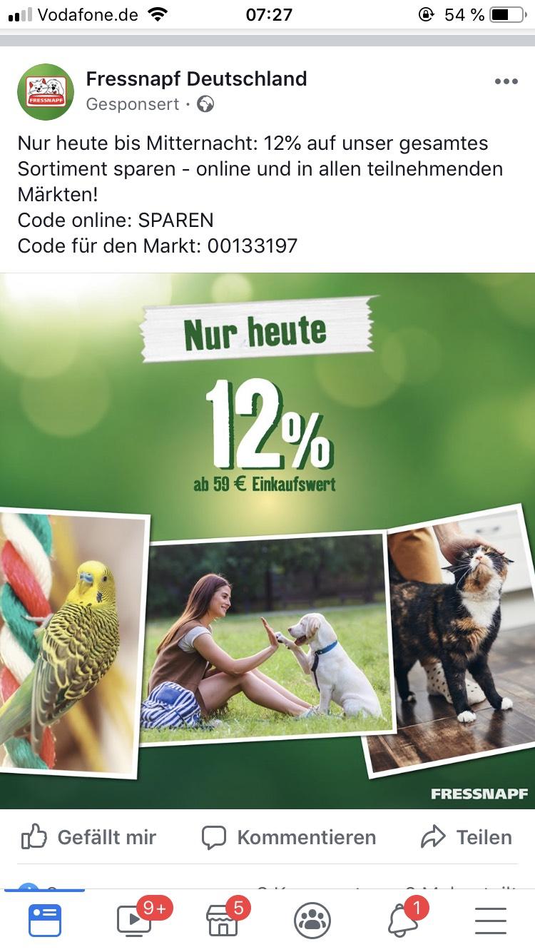 Fressnapf 12% ab 59€ Einkaufswert