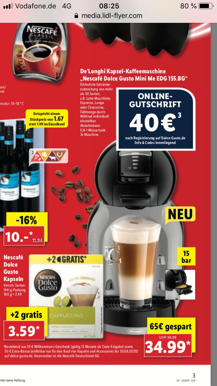 [LIDL] Krups Nescafé Dolce Gusto Mini Me + 40 € Onlinegutschrift